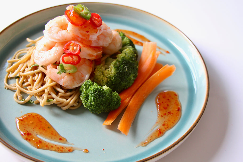 Sweet Chilli King Prawns w/ Noodles