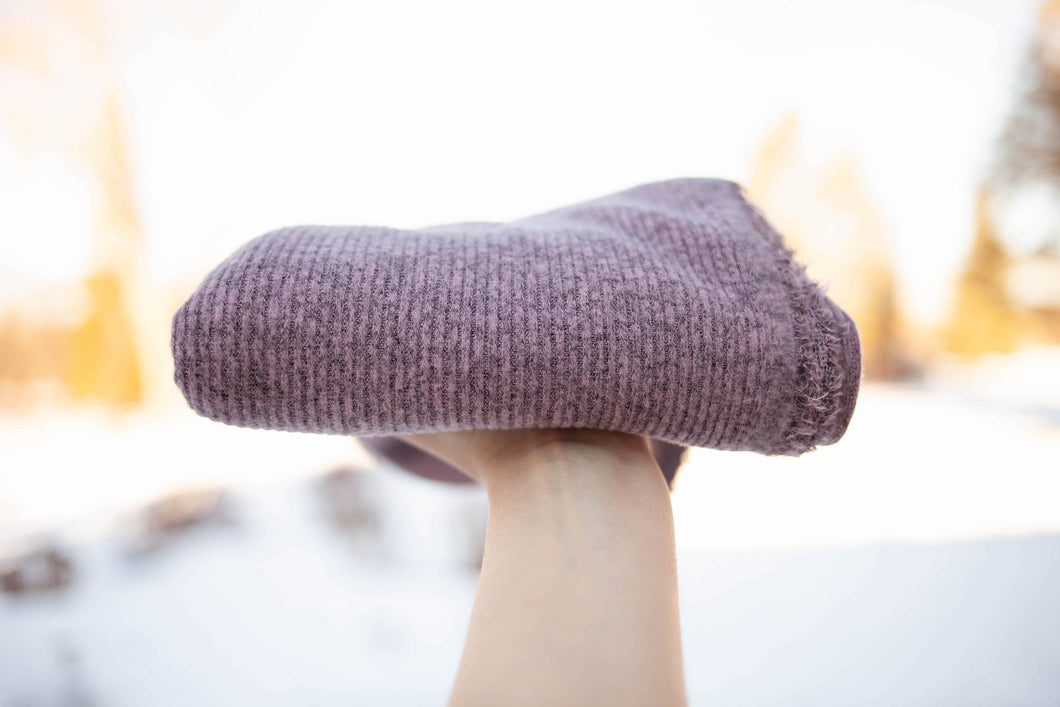 Ribbed Sweater Knit - Heathered Mauve