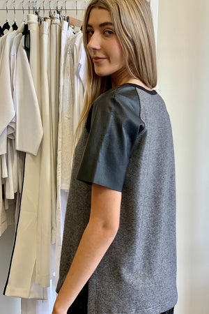 Hideseekers Grey Knit Leather Arms T Shirt