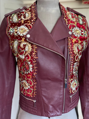 Chloe Genuine Leather Embellished Jacket