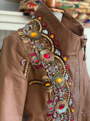 Daisy Genuine Leather Embellished Jacket