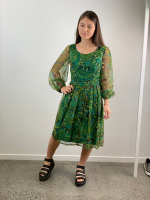 Vintage 1960s Forest Tea Dress - Size 8