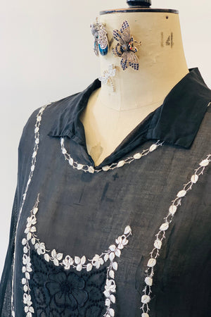1930's Cotton Lawn Embroidered Dress