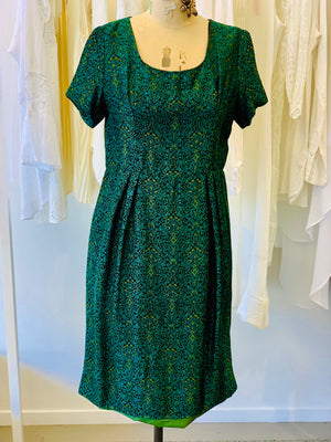 Vintage 1950s Brocade Dress Fully Lined Size 10