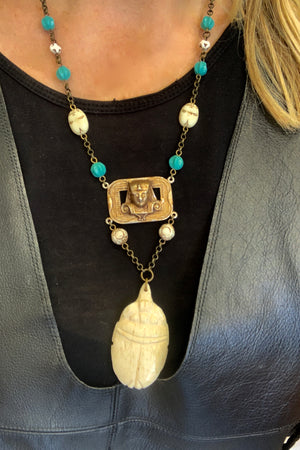 Egyptian Brass and Stone necklace