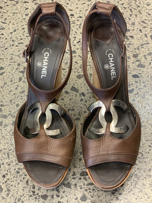 Chanel Brown Stacked Platform Size 39