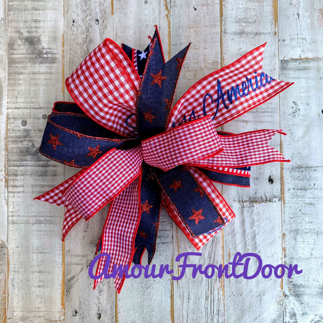 Fourth Of July Bow, Patriotic Bow For Wreath, Patriotic Bow For Lantern, 4th Of July Bow, Lantern Bow, Independence Day Bow, Patriotic Mailbox Bow