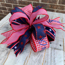 Load image into Gallery viewer, Fourth Of July Bow, Patriotic Bow For Wreath, Patriotic Bow For Lantern, 4th Of July Bow, Lantern Bow, Independence Day Bow, Patriotic Mailbox Bow