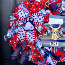 Load image into Gallery viewer, Patriotic Dog Wreath, Patriotic Dog Decor, Fourth of July Wreath, Dog Paw Wreath, Blue Truck Wreath