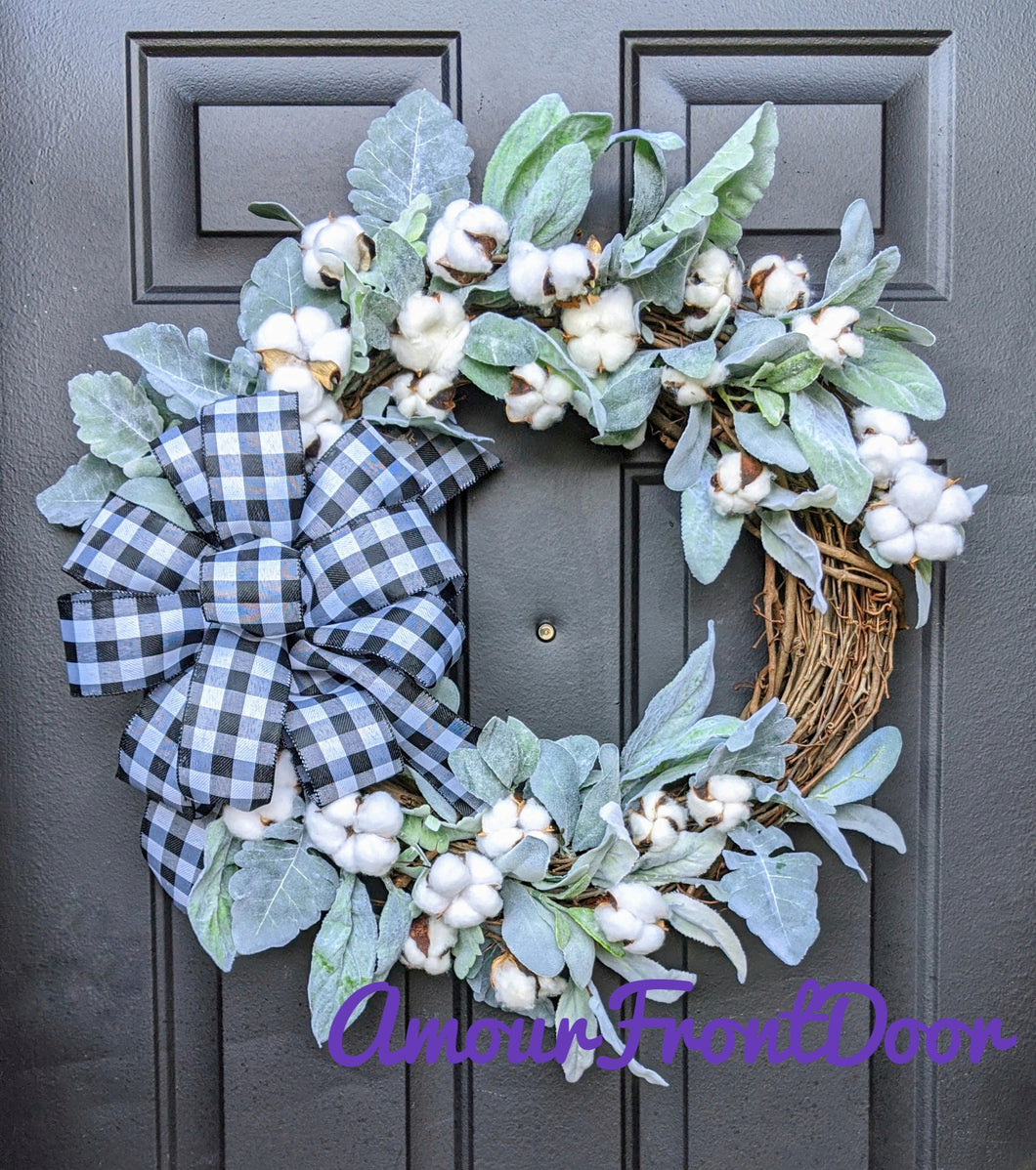 Welcome Lamb's Ear Grapevine Wreath - Custom Wreath