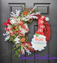 Load image into Gallery viewer, Santa Claus Wreath, Christmas Grapevine Wreath