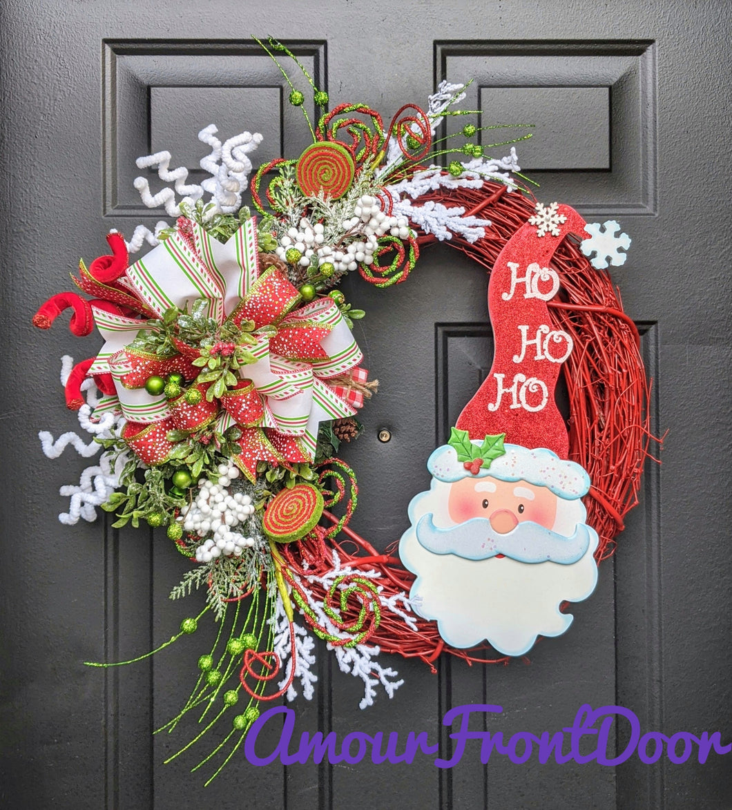Santa Claus Wreath, Christmas Grapevine Wreath