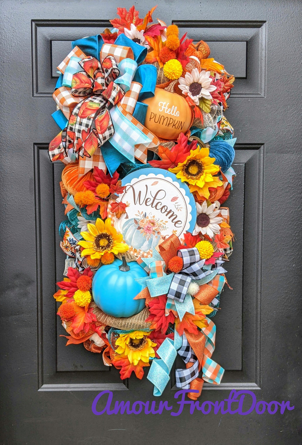 Vibrant Fall Welcome Door Swag - Custom Order