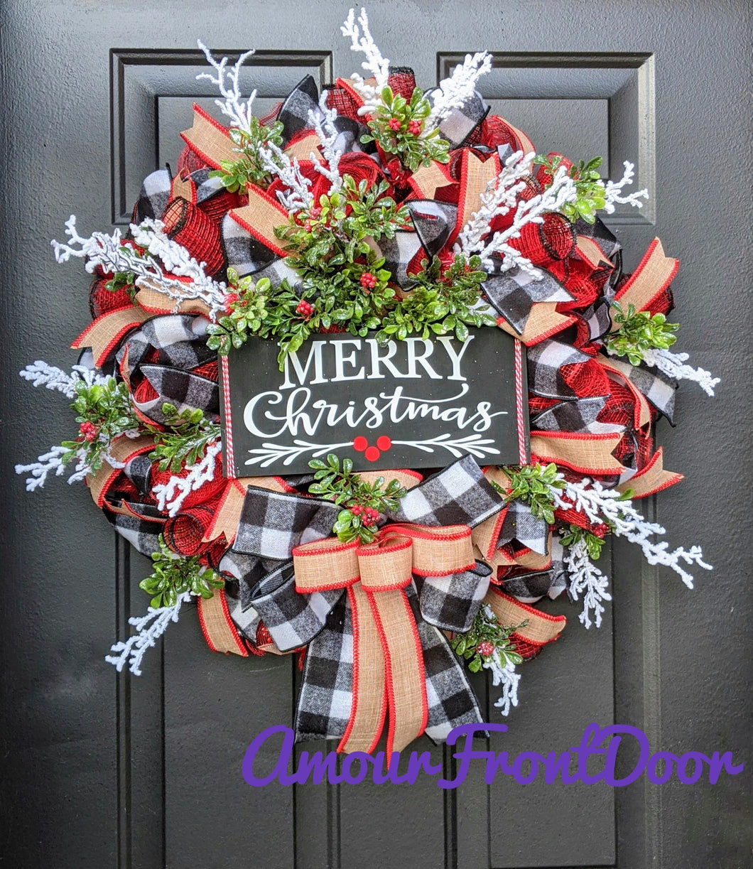 Merry Christmas, Berry and Buffalo Check Wreath - Custom Order
