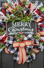 Load image into Gallery viewer, Merry Christmas, Berry and Buffalo Check Wreath - Custom Order