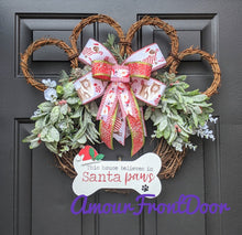 Load image into Gallery viewer, This House Believes In Santa Paws - Grapevine Paw Print Dog Wreath - Custom Order