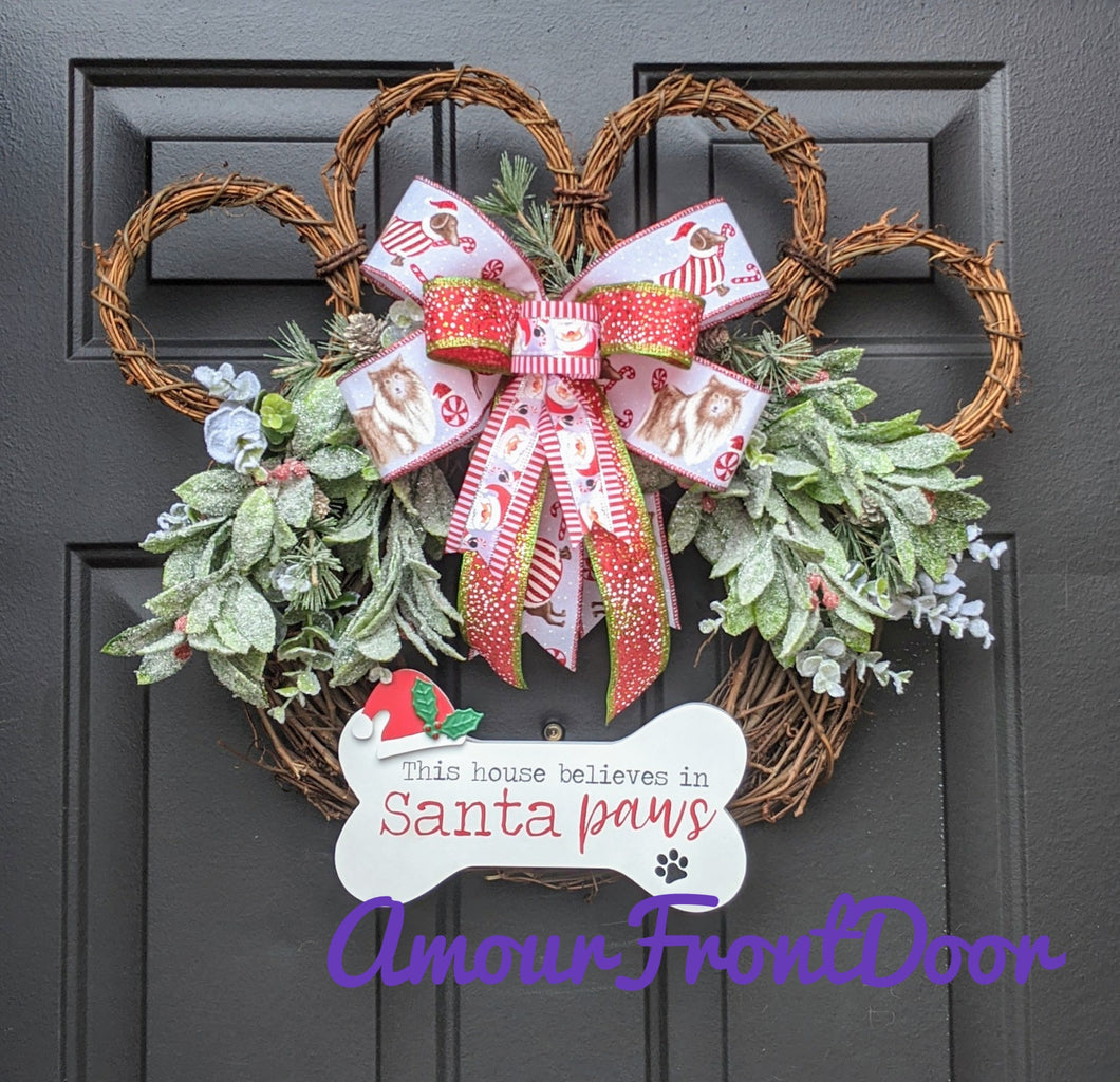 This House Believes In Santa Paws - Grapevine Paw Print Dog Wreath - Custom Order