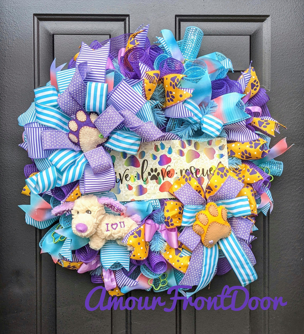 Live Love Rescue Wreath - Tye Dye Wreath - Plush Dog I Love You - Custom Order