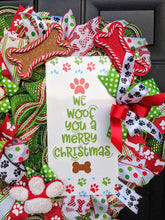 Load image into Gallery viewer, We Woof You A Merry Christmas Wreath - Christmas Dog Wreath - Christmas Pancake Wreath