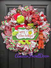 Load image into Gallery viewer, Grinch Christmas Wreath, Happy Wholidays Wreath