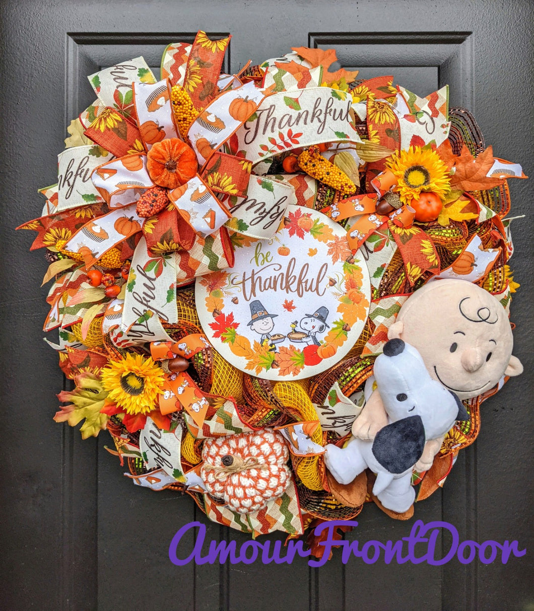 Be Thankful Fall Wreath, Snoopy Wreath, Custom Order