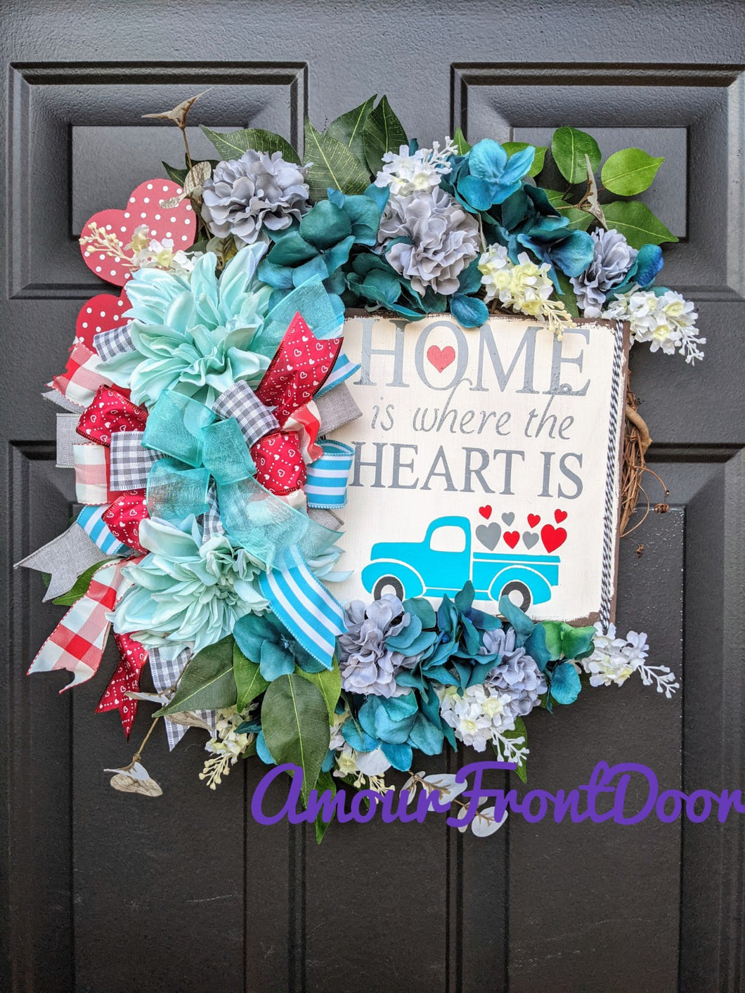 Home Is Where The Heart Is Wreath, Blue Truck Wreath, Valentine Flower Wreath, Valentine Grapevine Wreath