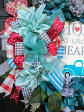 Load image into Gallery viewer, Home Is Where The Heart Is Wreath, Blue Truck Wreath, Valentine Flower Wreath, Valentine Grapevine Wreath