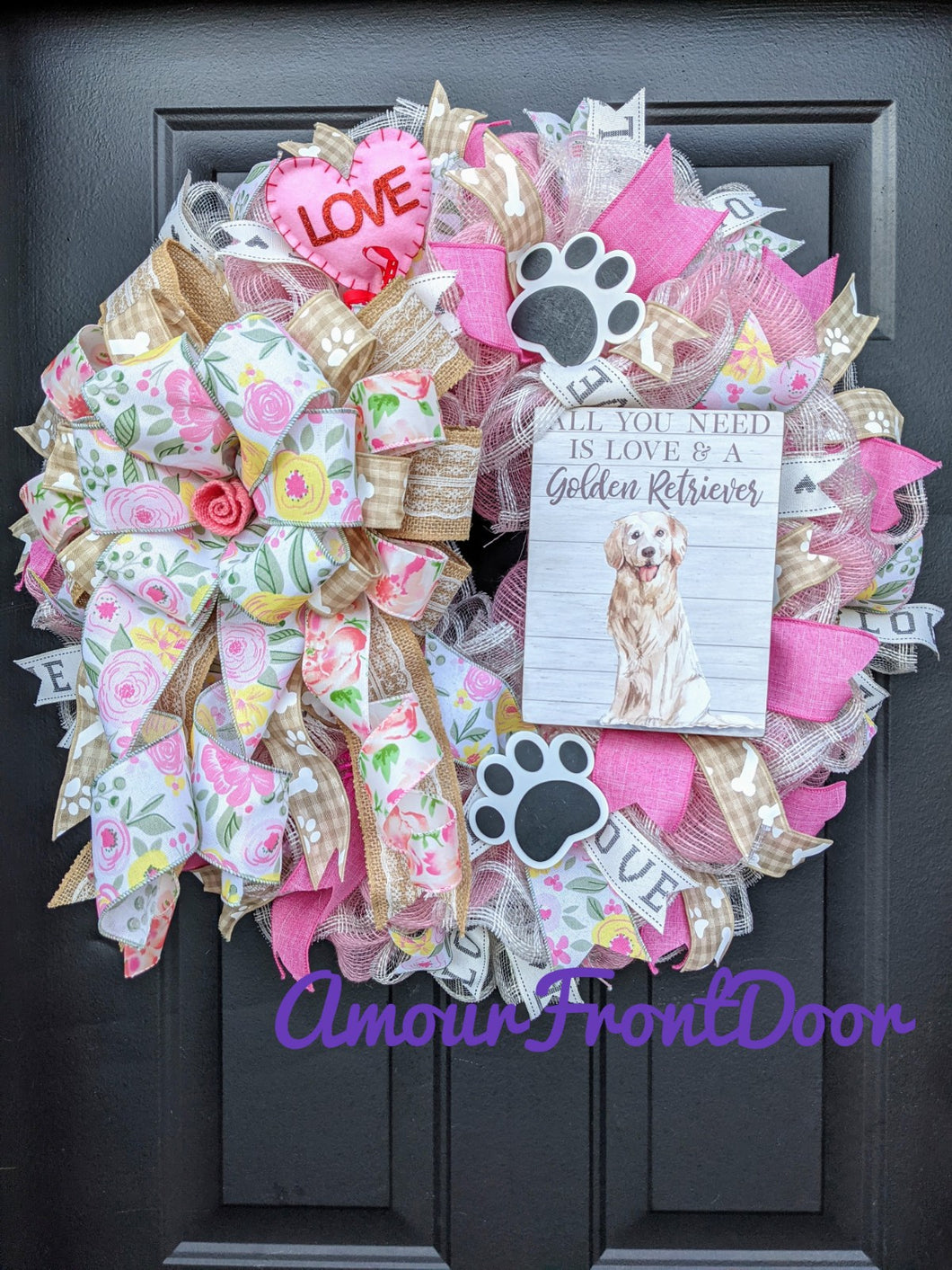 Golden Retriever Wreath, Valentine Dog Wreath, Dog Paw Print Wreath, Dog Wreath
