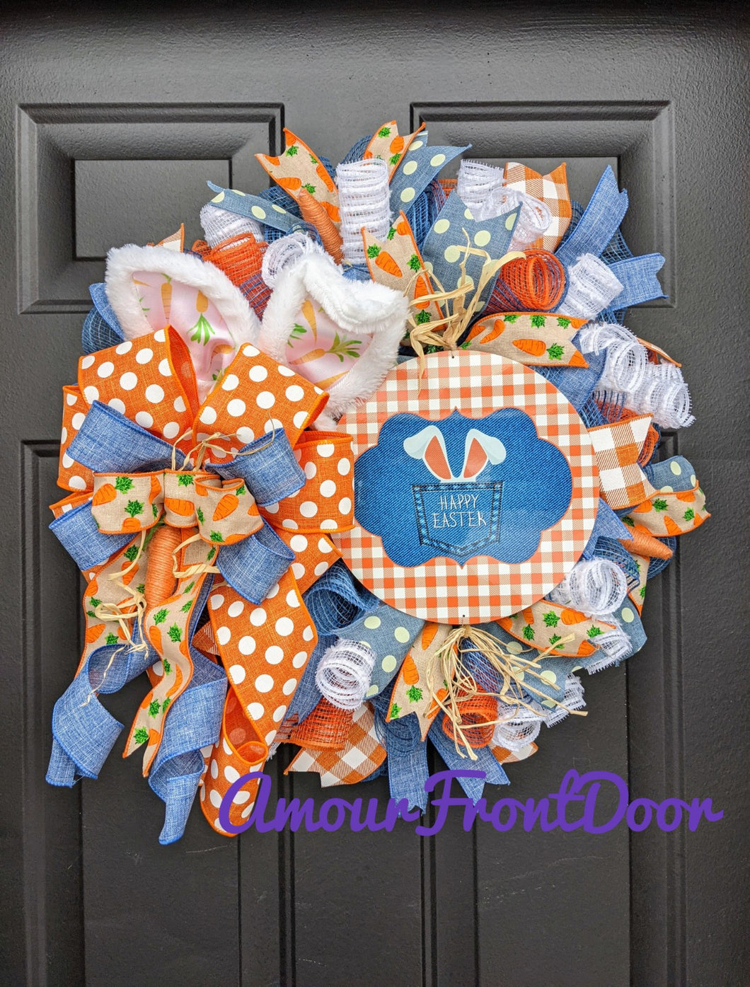 Happy Easter Wreath, Easter Bunny Wreath, Easter Rabbit Wreath, Easter Carrot Wreath, Easter Farmhouse Wreath