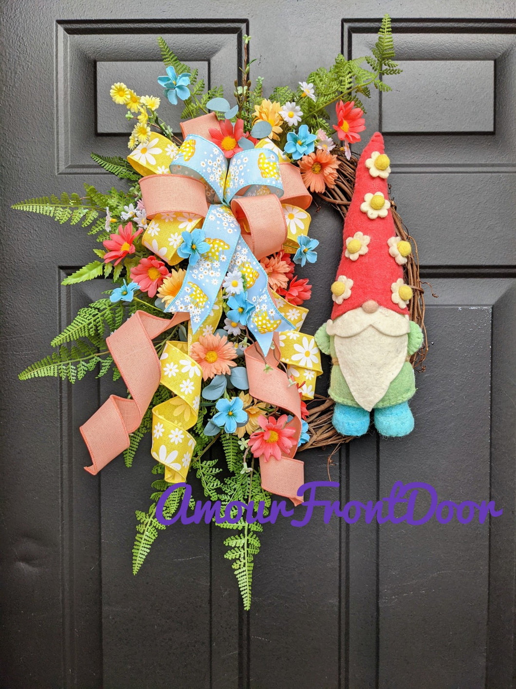 Spring Gnome Wreath, Gnome Wreath, Gnome Decor, Spring Grapevine Wreath, Grapevine Floral Wreath