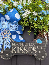 Load image into Gallery viewer, Beware of Dog Kisses Wreath, Grapevine Paw Print Wreath, Dog Wreath, Dog Paw Print Wreath, Grapevine Dog Wreath, Dog Flower Wreath