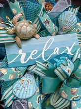 Load image into Gallery viewer, Sea Turtle Wreath, Seashell Wreath For Front Door, Sea Beach Wreath, Turquoise Wreath, Summer Beach Wreath,