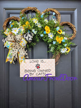 Load image into Gallery viewer, Love Is Being Owned By Cats, Cat Grapevine Wreath, Cat Paw Print Wreath, Custom Order
