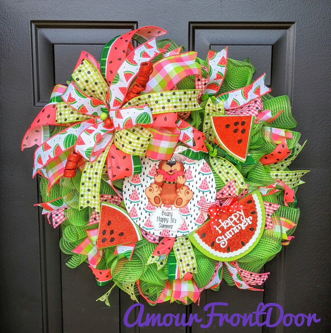 Watermelon Wreath - Summer Watermelon Wreath - Bear Wreath - Happy Summer Wreath