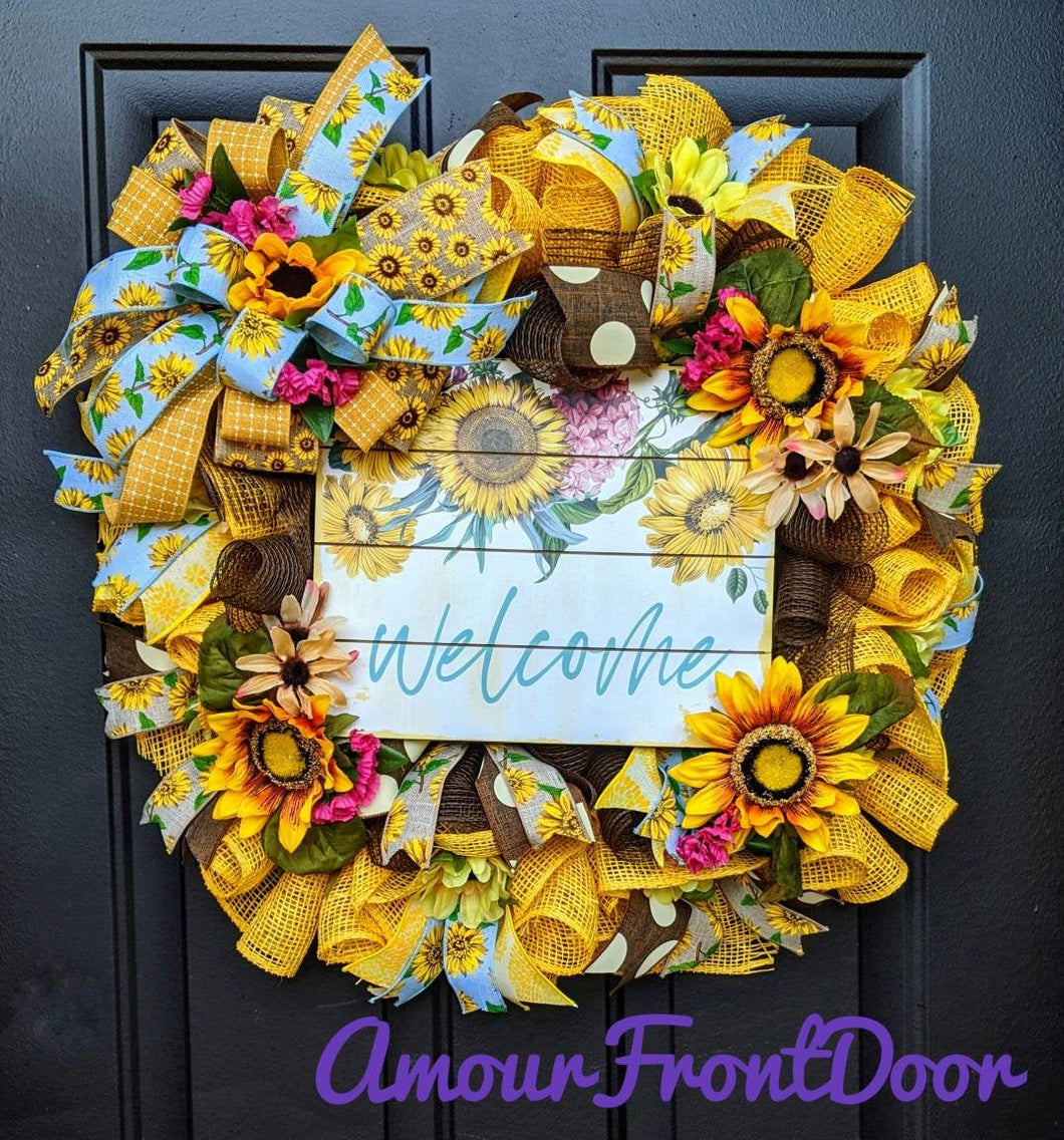 Square Fall Wreath - Large Sunflower Wreath - Large Fall Floral - Fall Sunflower Wreath - Sunflower Wreath - Fall Floral Wreath