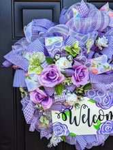 Load image into Gallery viewer, Lavender Wreath, Floral Welcome Wreath, Lavender Bloom, Purple Roses Decor, Lavender Flowers, Summer Bloom, Floral Wreath