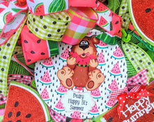 Load image into Gallery viewer, Watermelon Wreath - Summer Watermelon Wreath - Bear Wreath - Happy Summer Wreath
