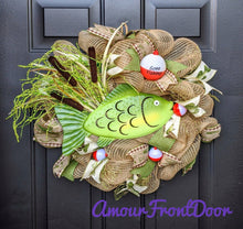 Load image into Gallery viewer, Gone Fishing Wreath - Fish Wreath - Lake Wreath - Cottage Wreath - Cabin Wreath