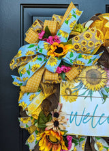 Load image into Gallery viewer, Square Fall Wreath - Large Sunflower Wreath - Large Fall Floral - Fall Sunflower Wreath - Sunflower Wreath - Fall Floral Wreath