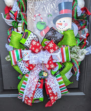 Load image into Gallery viewer, Jingle All The Way Wreath - Winter Snowflake Wreath - Large Winter Wreath - Snowman Door Hanger
