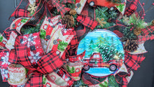 Load image into Gallery viewer, Christmas Red Truck Wreath - Christmas Evergreen Wreath - Red Buffalo Check Wreath - Traditional Christmas Wreath