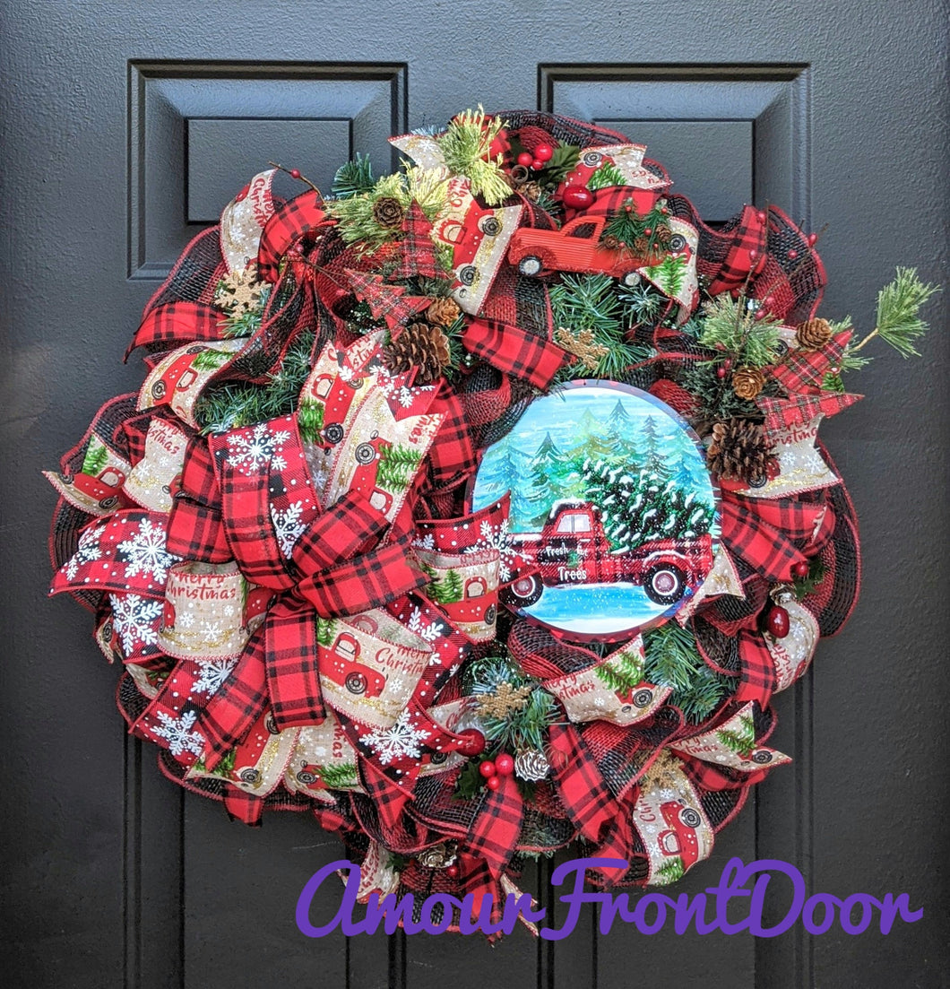 Christmas Red Truck Wreath - Christmas Evergreen Wreath - Red Buffalo Check Wreath - Traditional Christmas Wreath