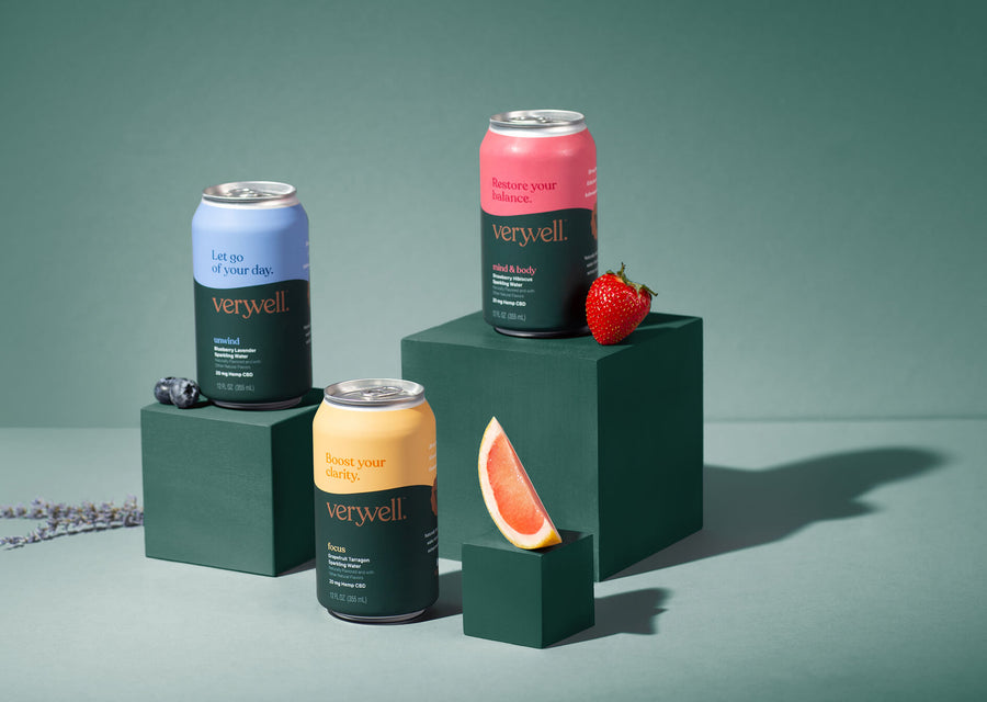 Beauty shot of the three Veryvell flavors, each with a flavor cue next to it.