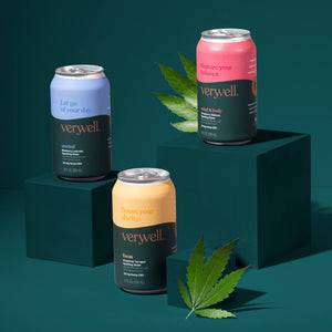 Hero shot of the three Veryvell flavors, each with a hemp leaf next to it.