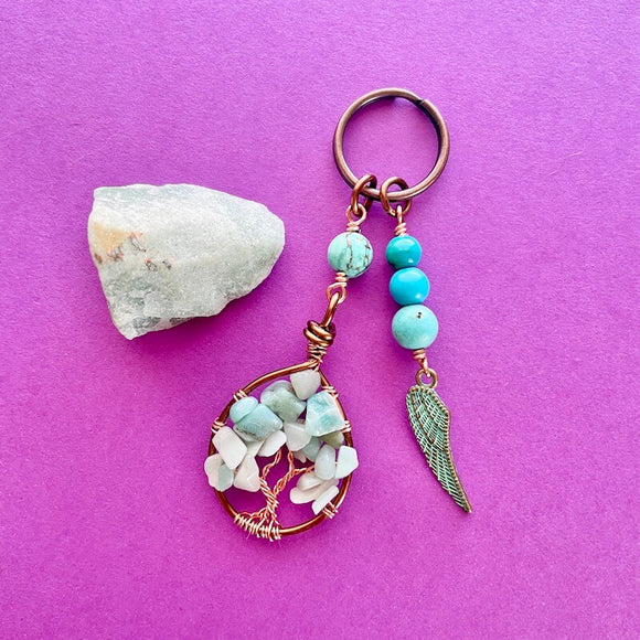 Amazonite Tree of Life Boho Keychain