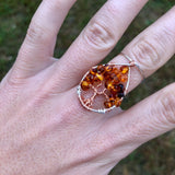 Amber Tree of Life Ring - Silver with Copper, Size 6.5 ON SALE!