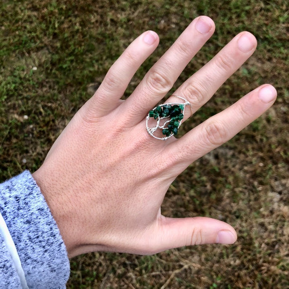 Aventurine Tree of Life Ring - Silver with Silver, Size 7.5 ON SALE!
