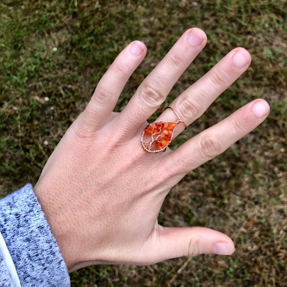 Carnelian Tree of Life Ring - Silver with Silver, Size 6.5 AND Copper with Copper, Size 8 ON SALE!