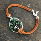 Emerald Tree of Life Clasp Bracelet - Silver with Silver, Light Brown Vegan Leather, Size L ON SALE!