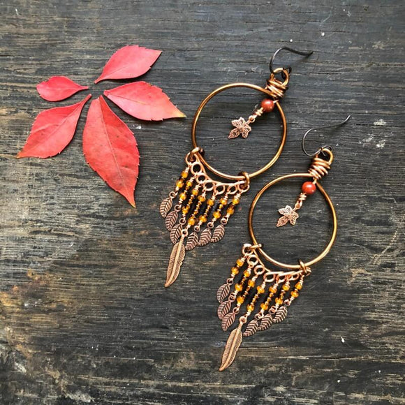 Falling Leaves Circle Dangle Earrings - Falling Leaves Collection